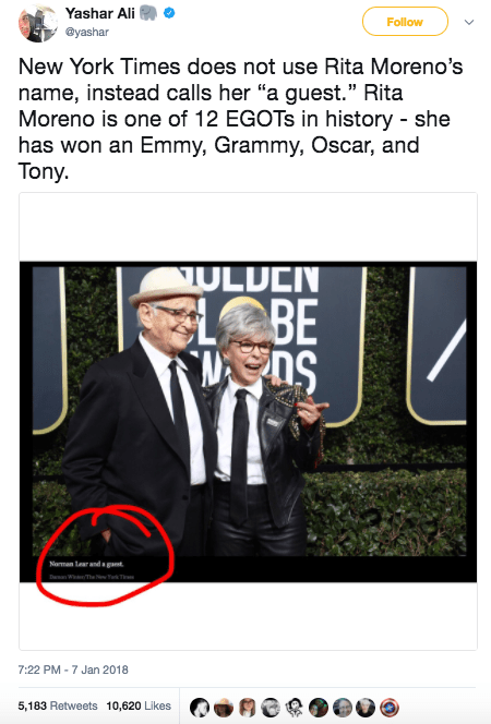 """And the New York Times labeled Rita Moreno — who has won Emmy, Grammy, Oscar, and Tony awards — as Norman Lear's """"guest."""""""