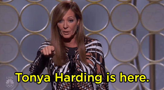 "Allison Janney said, ""Tonya Harding is here,"" and no one knew whether to clap or not."
