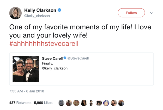 """And, yes, Kelly was equally excited to meet the man who painfully screamed out her name while getting waxed. She even made her own """"Ahhh, Steve Carell!"""" joke."""
