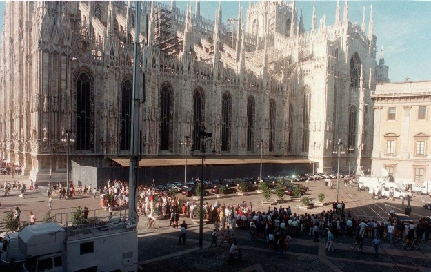 On July 22, people lined up outside the Gothic cathedral in Milan for Versace's memorial mass.