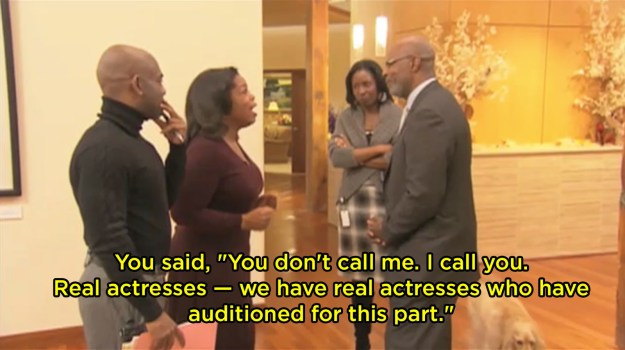 When she confronted casting director Reuben Cannon for being rude to her on the phone after she auditioned for The Color Purple: