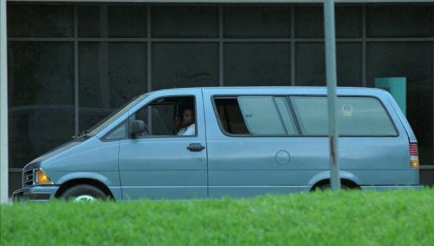 The medical examiner's van carrying Versace's body left Jackson Memorial Hospital on July 15.
