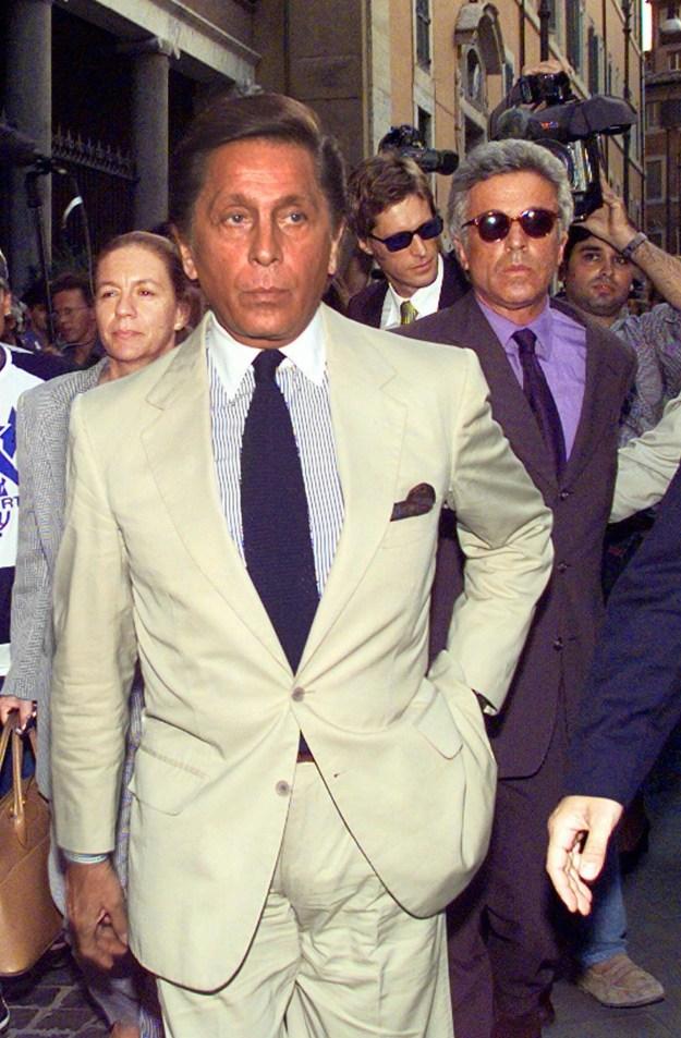 Italian fashion designer Valentino (left) and his partner Giancarlo Giammetti (right) attended the memorial.