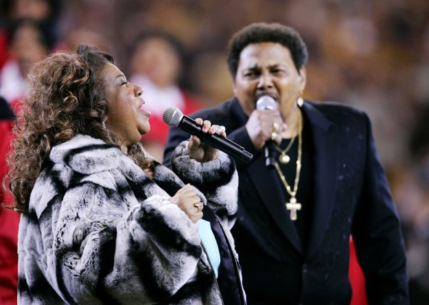 Feb. 5, 2006 — Aretha Franklin and Aaron Neville at Super Bowl XL in Detroit