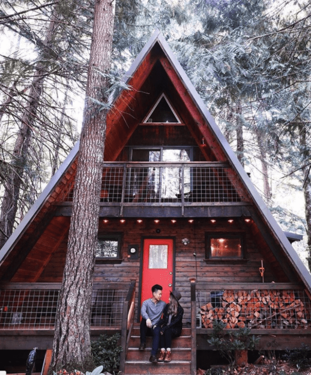 "And this Little Owl Cabin is fittingly listed as ""your Pacific Northwest A-frame cabin fantasy"" for $229/night."