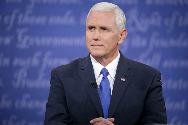 And this is Vice President Mike Pence. He's got a complicated history with LGBT rights — let's just say he's more than a few seasons behind on Rupaul's Drag Race.