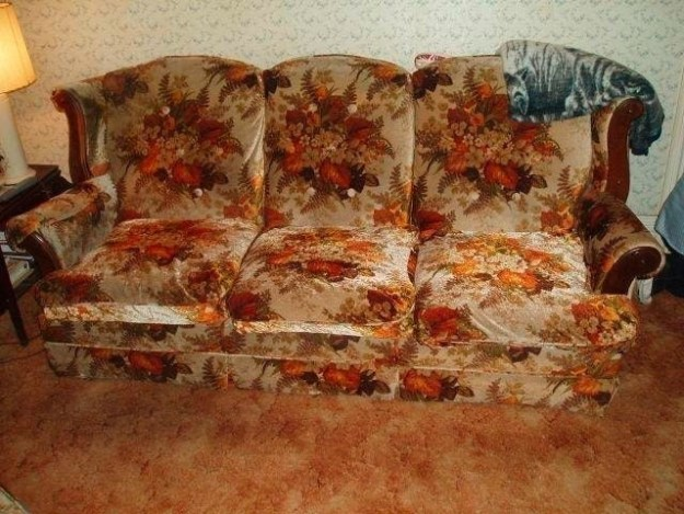 An incredibly comfortable couch with a very vintage aesthetic.