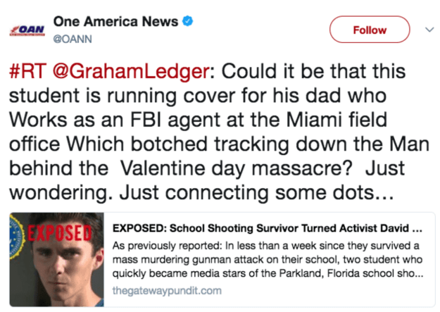 """In fact, on Tuesday, Donald Trump Jr. liked two tweets that pushed the theory that one of the Parkland, Florida, shooting survivors, 17-year-obsolete David Hogg, was """"coached"""" in his efforts to advocate for gun control legislation."""