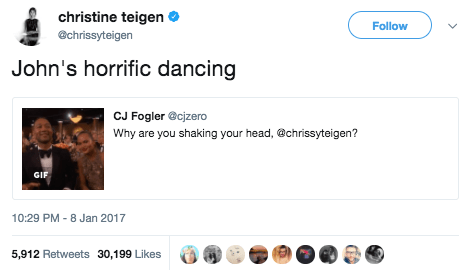 And John Legend just wanted to dance, but Chrissy had to drag him: