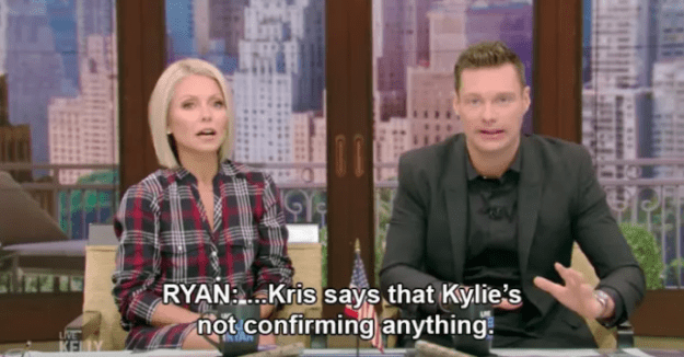 Kris continued to confirm the news by not confirming the news when Ryan Seacrest text her live on air asking about the rumours. Her reply?