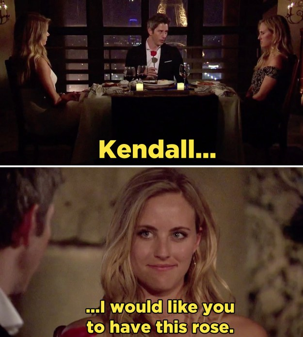 We'll probably never know if that was a factor in Arie's decision, but to everyone's shock and relief, Kendall WON THE ROSE.