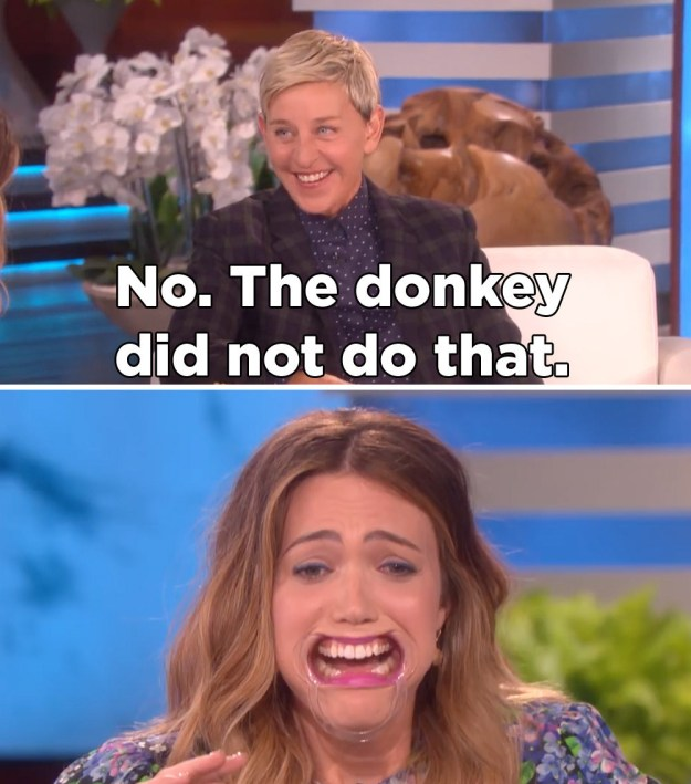 """Especially because it reeeeally sounded like she was saying the donkey...did something to her mom that sounds like """"bucked"""" but is not """"bucked,"""" know what I mean?"""