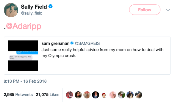 "Sam had tweeted a screenshot of his mom urging him to ""find a way"" to meet the athlete — when Sally herself intervened, tagging Adam's Twitter account to make sure he saw it."