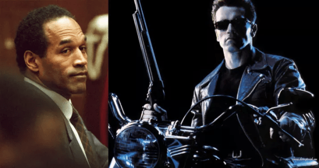 O.J. Simpson was in consideration for the first Terminator movie, but was thought to be too gentle for the role of a killing machine.