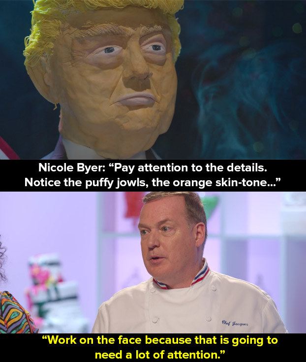 Before the challenge, presenter Nicole Byer and head judge Jacques Torres gave them some tips on how to re-create the president's face.