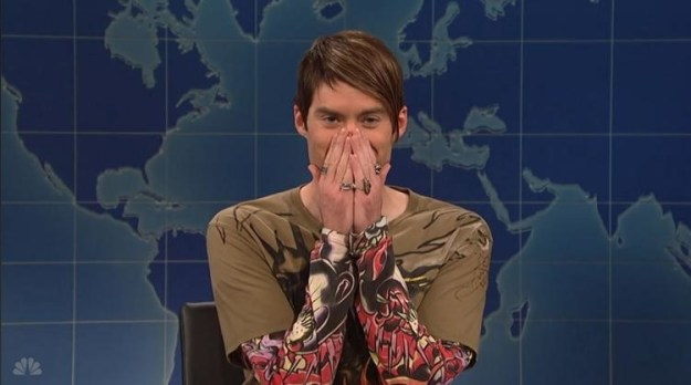 And finally, Stefon's iconic pose, with his hands covering his mouth, was Bill Hader's reaction to reading new lines John Mulaney came up with moments before a taping. Hader couldn't contain his laughter on camera.
