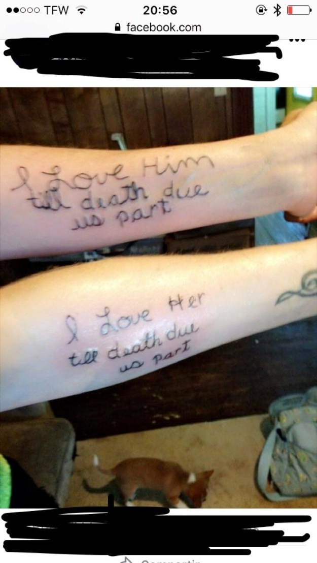 "This tattoo is permanent till death ""due"" them part:"
