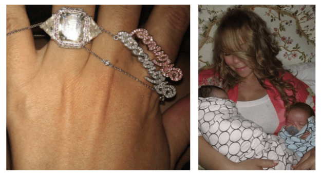 Mariah Carey's ex-husband, Nick Cannon, gifted her a custom-made white gold necklace that spells out the names of their twins in diamonds and pink sapphires. It is worth $12,000.