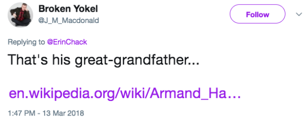 The next day a person who is smarter than me pointed out that, Duh, Erin, his name sounds like Arm & Hammer because his great grandfather, Armand Hammer, owned the company.