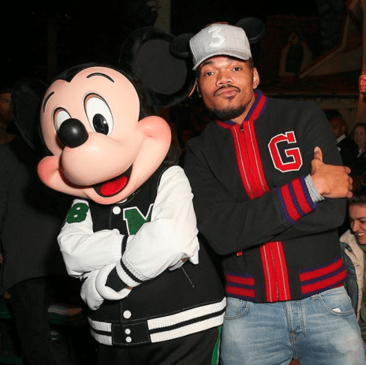 Chance The Rapper met Mickey The Mouse.