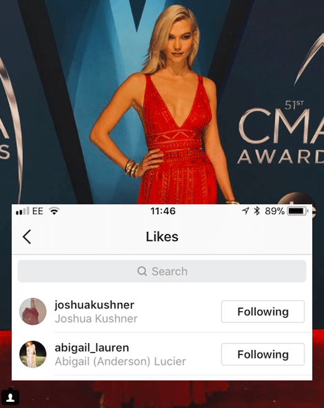 Perhaps the most interesting like was on this photo of Karlie at the Country Music Awards – that important night which all but confirmed she and Taylor were fine.