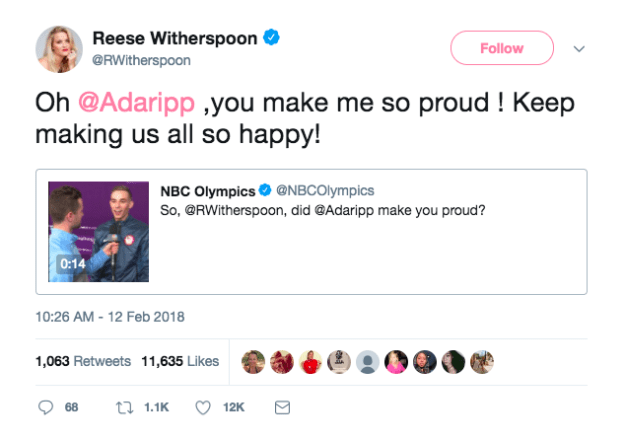 ...seriously, she was so proud of Adam Rippon...