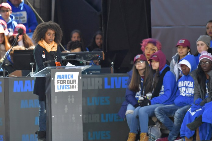 11-year-old Naomi Wadler speaks during the March for Our Lives rally in Washington, DC.