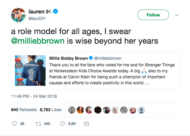 People were so inspired that Millie used her platform in such a positive way: