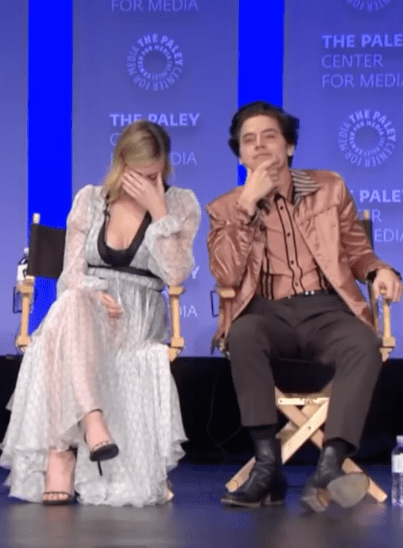 "Things got real awkward, real fast. Lili immediately covered her face, while Cole just stared at the fan with a ""Did she really just ask that?"" face."