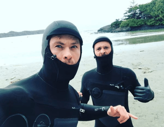 Look at the little guy peeking out from out from under his wetsuit, he is a star.