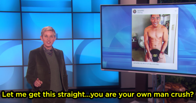 But Ellen had a question.