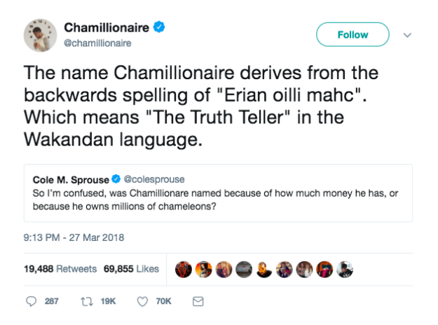 Anyways, Chamillionaire was just scrollin' through his chamillions of twitter mentions and noticed Cole's inquiry — so he decided to set the record straight with a quick-witted Black Panther reference: