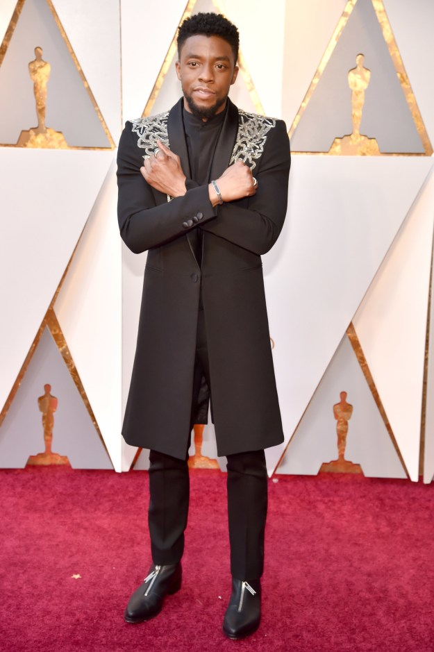 ...fans couldn't help but connect Chadwick Boseman's regal status as king of Wakanda in the film to his royally dapper appearance on the Oscars red carpet.