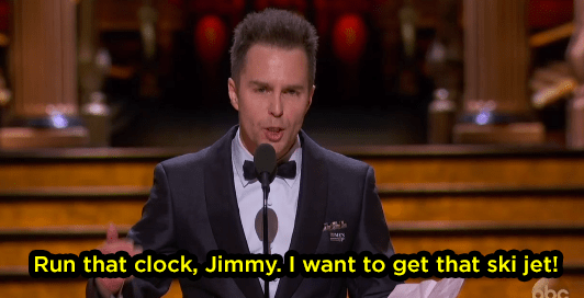 "And then in his speech, Sam Rockwell called a Jet Ski a ""ski jet."""