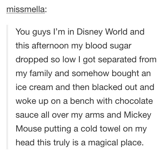 The one about blacking out at Disney World: