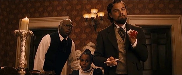 """In Django Unchained, Leonardo DiCaprio cut his hand when he slammed it on a table and accidentally smashed a glass. He continued the scene. """"My hand started really pouring blood all over the table,"""" said DiCaprio."""