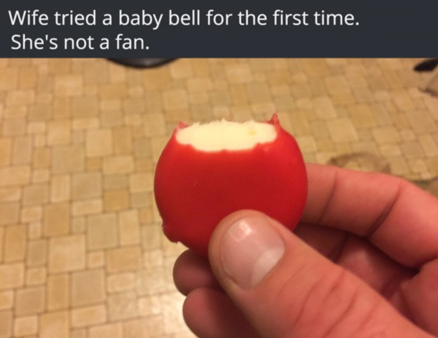 This person who couldn't figure out a Babybel.