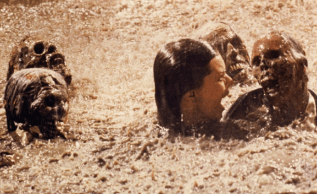 In the scene from Poltergeist where JoBeth Williams swims through a pool of bones and skulls, she wasn't diving with props. They were real dead bodies.