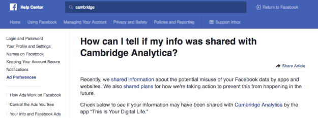If you didn't receive a notification, then you can still check to see if your data was shared with Cambridge Analytica by going to the Help Center or clicking here.