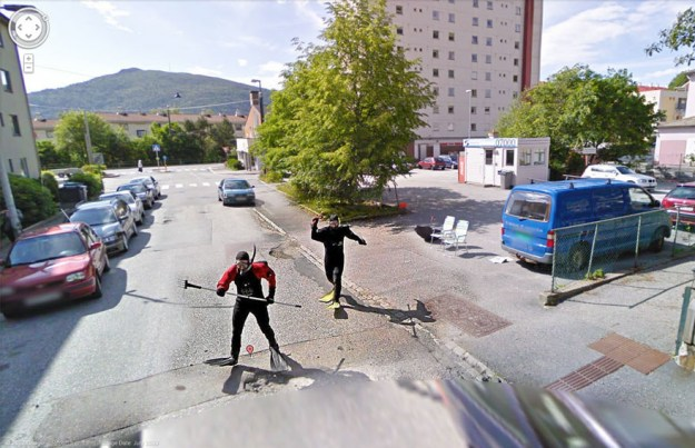 Every once in a while, the Google Street View cars will capture something hilariously odd.