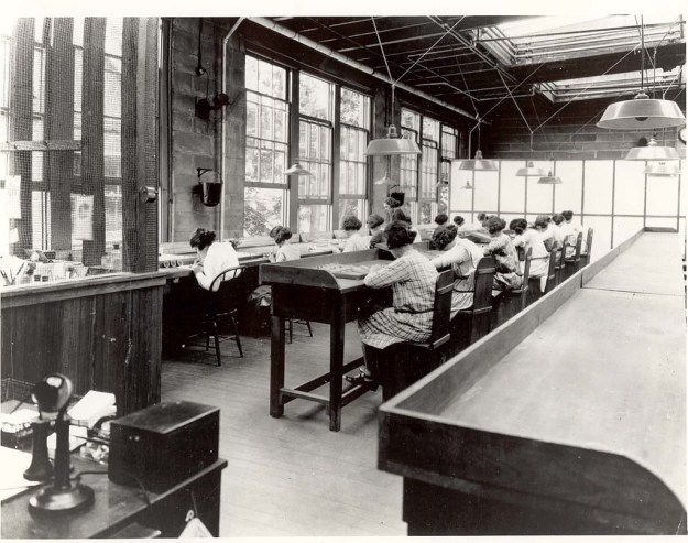 During World War I, The United States Radium Corporation set up a watch factory in Orange, New Jersey. Many of their employees were young women, who painted the watch faces and tiny dials with glowing radium paint.