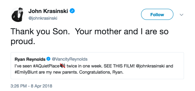 Most recently, Ryan has expanded his trolling repertoire to include fellow celebrities. In fact, just a couple of days ago he had a delightful Twitter exchange with John Krasinski in which he asked to be adopted by him and Emily Blunt.