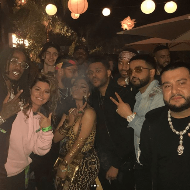 Okay, now let's talk about this photo. The pic heard 'round the world. You've got Nicki Minaj, The Weeknd, French Montana, Nav, Timothée Chalamet (lol) and of course, Shania Twain in a pink hoodie.