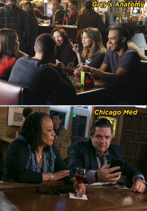 All of the doctors hang out at the same bar after work because nobody seems to have any friends outside of the hospital.