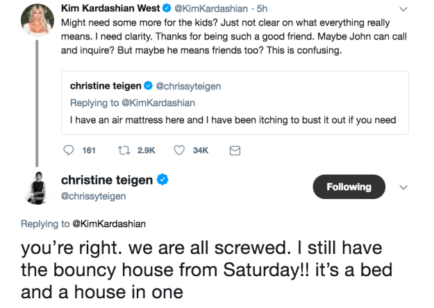 But then Chrissy let Kim know that she has other accommodation available thanks to Luna's birthday party over the weekend.