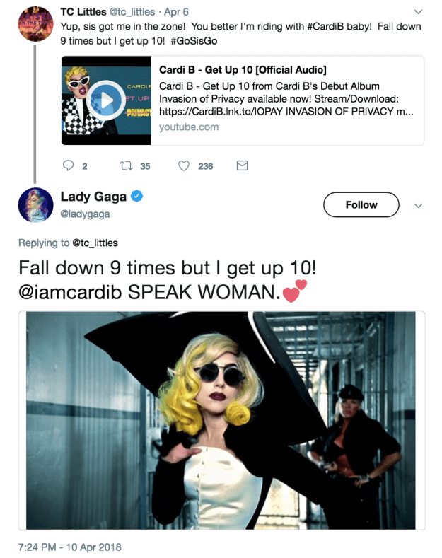 """And actually, right after Gaga reposted the video, she showed her love for Cardi B's """"Get Up 10"""" song."""