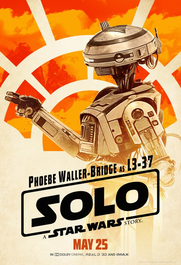 First up is L3-37, the self-made and self-modified droid who often works with Lando Calrissian. She's the first major female droid in the Star Wars film canon, and because Phoebe Waller-Bridge is playing her, you know she's going to have serious comedic chops.