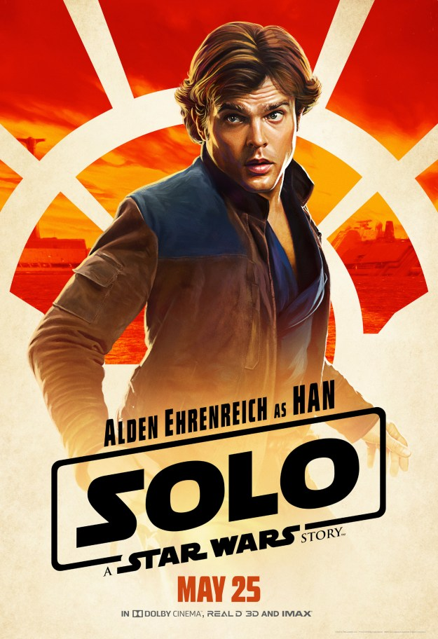 And, finally, we have the scruffiest-looking of nerfherders, the original scoundrel/nice man, Han Solo (Alden Ehrenreich) himself.
