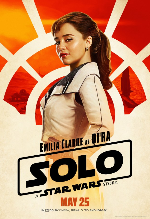 Qi'Ra (Emilia Clarke), Han's longtime friend and fellow rule-breaker, is redefining what it means to give face and wear a leather jacket.