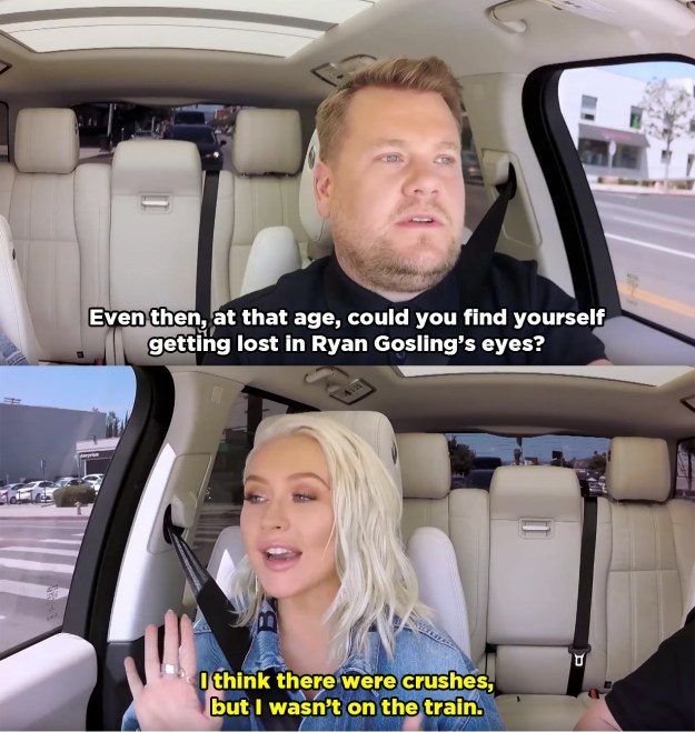 Obviously James asked Christina if she ever had a childhood crush on Ryan Gosling, because he turned into Ryan Gosling.